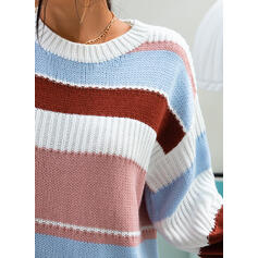 Striped Round Neck Long Sleeves Casual Knit Blouses