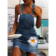 Print/Floral Sleeveless Shift Above Knee Casual/Denim Dresses