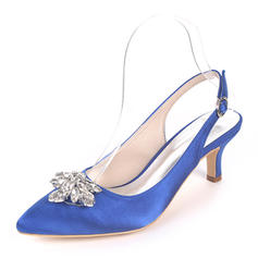Women's Silk Like Satin Stiletto Heel Pumps With Buckle Rhinestone