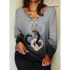 Gradient Heart Print Sequins V-Neck Long Sleeves T-shirts