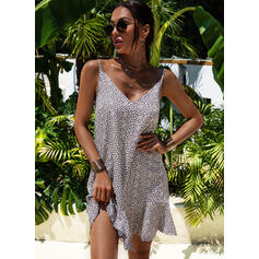 Print/Leopard Sleeveless Shift Above Knee Casual/Vacation Dresses