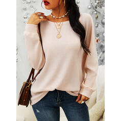 Solid Round Neck Long Sleeves Casual Basic Knit Blouses