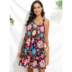 Print/Floral Sleeveless Shift Above Knee Casual/Boho/Vacation Tank Dresses
