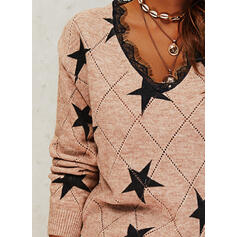 Geometric Print Lace V-Neck Casual Sweaters
