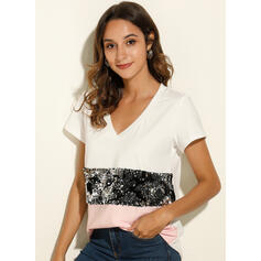 Patchwork Sequins V-Neck Short Sleeves Casual T-shirts
