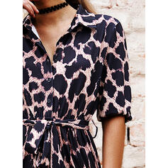 Leopard 1/2 Sleeves A-line Shirt/Skater Casual Midi Dresses