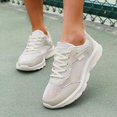 Women's Mesh Flat Heel Flats Low Top Round Toe Sneakers With Lace-up Hollow-out Solid Color shoes