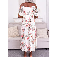 Print/Floral Lace 1/2 Sleeves Cold Shoulder Sleeve A-line Skater Casual/Vacation Maxi Dresses