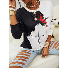 Print Color Block Figure Round Neck Long Sleeves Casual Blouses