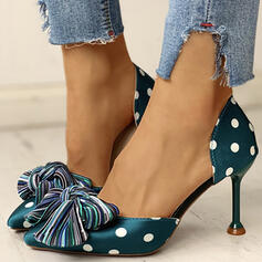 Women's PU Low Heel Pumps Pointed Toe With Bowknot shoes