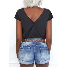 Solid Lace Backless V-Neck Short Sleeves Button Up Casual Shirt Blouses