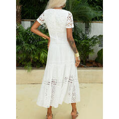 Lace/Solid Short Sleeves A-line Little Black/Casual/Vacation Maxi Dresses