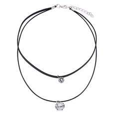 Stylish Leather Rope Zircon With Zircon Women's Necklaces (Sold in a single piece)