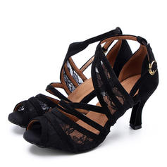 Women's Latin Heels Lace Suede Latin