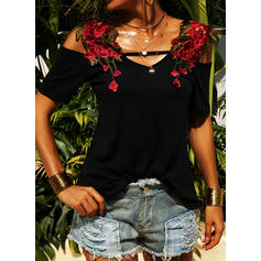 Solid Embroidery Cold Shoulder Short Sleeves Casual Blouses