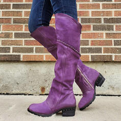 Women's Suede Chunky Heel Boots Round Toe With Rhinestone Zipper Solid Color shoes