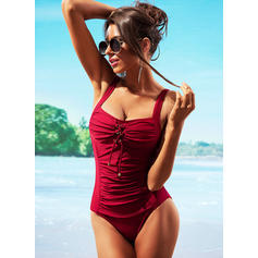 Solid Color Strap Round Neck Sexy Plus Size One-piece Swimsuits