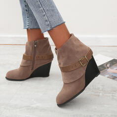 Women's Leatherette Wedge Heel Wedges Ankle Boots Pointed Toe With Buckle Solid Color shoes