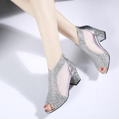 Women's PU Chunky Heel Sandals Peep Toe With Others shoes