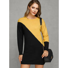 Color Block Chunky knit Round Neck Casual Long Sweater Dress
