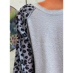 Print Leopard Letter V-Neck Long Sleeves Casual T-shirts