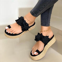 Women's Leatherette Flat Heel Sandals Slippers With Flower shoes