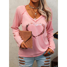 Sequins Heart V-Neck Long Sleeves Casual T-shirts