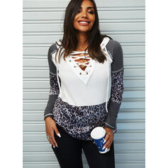 Color Block Leopard V-Neck Long Sleeves Casual Knit Blouses