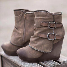 Women's PU Chunky Heel Ankle Boots Round Toe With Buckle Lace-up shoes