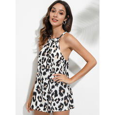 Leopard Round Neck Sleeveless Casual Sexy Blouses