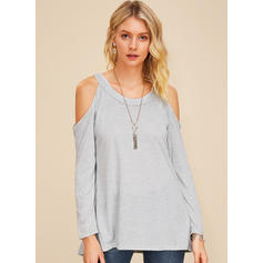Solid Cold Shoulder Long Sleeves Casual Sexy Blouses