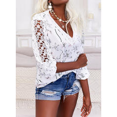 Print Floral Lace V-Neck 3/4 Sleeves Puff Sleeve Casual Blouses
