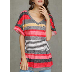 Striped V-Neck Short Sleeves Casual Knit T-shirts