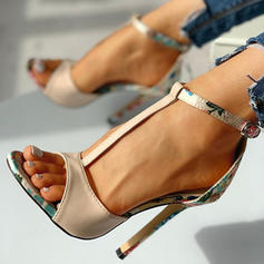 Women's Leatherette Stiletto Heel Sandals Pumps Peep Toe With Buckle shoes