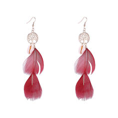 Simple Alloy Feather With Feather Women's Earrings