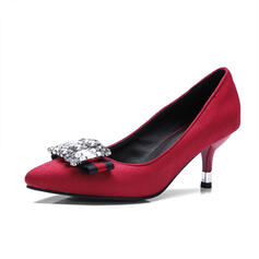 Women's Suede Stiletto Heel Pumps Pointed Toe With Rhinestone shoes