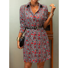 Print/Floral Long Sleeves A-line Above Knee Casual Shirt/Skater Dresses