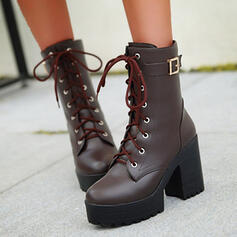 Women's PU Chunky Heel Platform Mid-Calf Boots Martin Boots High Top With Buckle Solid Color shoes