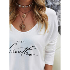 Print Figure V-Neck Long Sleeves Casual Knit T-shirts