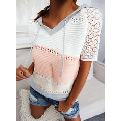 Color Block Lace Hooded Casual Sweaters