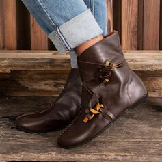 Women's Leatherette Flat Heel Boots Round Toe With Buckle Lace-up shoes