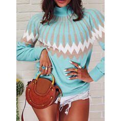 Print Stand Collar Casual Sweaters