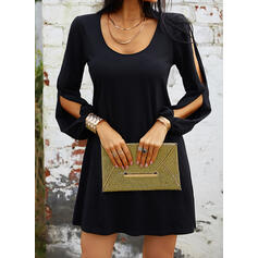 Solid Long Sleeves/Split Sleeve Shift Above Knee Little Black/Casual/Vacation Tunic Dresses
