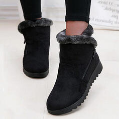 Women's Suede Flat Heel Ankle Boots Snow Boots Round Toe Winter Boots With Zipper Faux-Fur Solid Color shoes