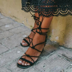 Women's Microfiber Leather Chunky Heel Sandals With Lace-up shoes