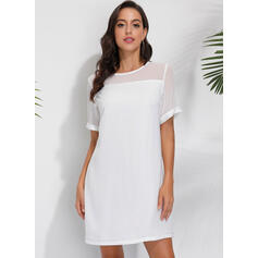 Solid Short Sleeves Shift Above Knee Little Black/Casual/Elegant Dresses