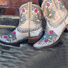 Women's Microfiber Chunky Heel Ankle Boots Round Toe With Rivet Flower Embroidery shoes