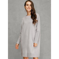 Solid Long Sleeves Shift Above Knee Casual Tunic Dresses