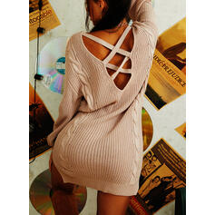 Solid Cable-knit V-Neck Long Sexy Sweater Dress