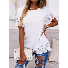 Solid Hollow-out Round Neck Short Sleeves Elegant Blouses